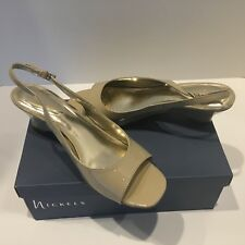 Women's Nickel's Beige Patent leather Sling Back New In Box 8 ½ Wide