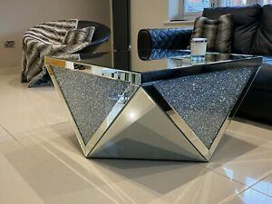 SALE!! Large Mirrored Coffee Table Crushed Diamond Crystal Living Room 90 x 90
