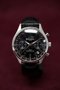 William L. 1985 Quartz Watch Vintage Style Small Chronograph with Black Dial