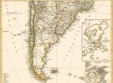 Landkarte ARGENTINIEN Chile Uruguay Paraguay🌄🗻🌋 Feuerland Rio de Janeiro 1873