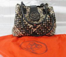 Sharif Woven Leather Shoulder Bag Purse Patent & Plain Leather W/ Cloth Sack
