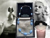VINTAGE ART DECO CZECH SATIN GLASS BABY BLUE BEADS NECKLACE BEAUTIFUL GIFT