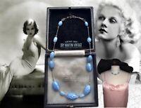VINTAGE ART DECO BOOKPIECE GABLONZ CZECH SATIN GLASS BABY BLUE BEADS NECKLACE