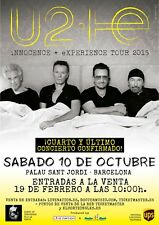 "U2 ""iNnocence + eXperience Tour 2015"" Barcelona Concert Poster - Alt Rock Music"