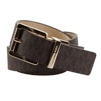 New Michael Kors MK Womens 32mm Reversible Gold Buckle Signature Logo Brown Belt