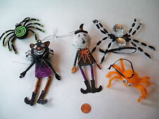 Halloween Ornaments Spiders and People Various cat