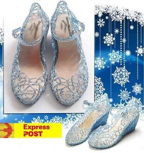 Elsa Frozen Disney Inspired Girls Children Cosplay Sandal birthday Heel Shoes