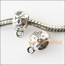 10 New Snowflake Tibetan Silver Bail Bead Fit Bracelet Chrams Connector 8.5x12mm