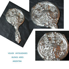 Interesting silverplate silver plated Art Nouveau metal hand mirror 26 x 14 cm