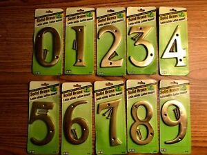 "New Sealed - Hy-Ko 4"" Solid Flat Brass House Numbers - BR90 Series"