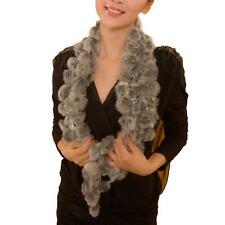 Warm Rabbit Fur Scarf Lady Winter Casual Fur Scarves Fur Ball Velvet Rabbit N