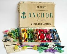Vintage Clarks Anchor Stranded Cotton Box with 56 Embroidery Thread Skeins, plus