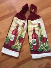 Set Of 2-crochet Top-double Thickness-kitchen Towels- Wine/grapes