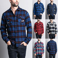 Men's Plaid Checkers Long Sleeve Woven Cotton Blend Flannel Shirt   WFS-007-R8H
