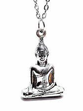"Thai Buddha Lotus Seated Silver Tone Pendant Buddhist 18"" Chain Necklace"