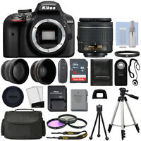 Nikon D3400 Digital SLR Camera Black + 3 Lens: 18-55mm Lens + 16GB Bundle