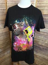 Spongebob Squarepants Black T-shirt Size Medium Patrick Galaxy Cat