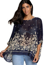 BOHO Chiffon Ladies Blouse Batwing Tops UK16 18 20 22 Evening Tunic Kaftan Shirt