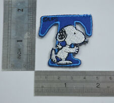 "LETTER T SNOOPY ALPHABET 1 1/2"" 4cm Sew Iron on Cloth Patch Applique Embroidery"