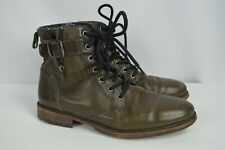 Used Aldo Brown Leather Distressed Mens Ankle Boots Zip Up sz 9.5 Buckles