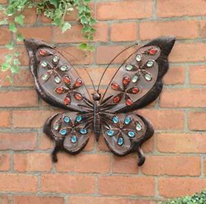 Solar Powered LED Light Metal Jewelled Garden Butterfly Wall Art