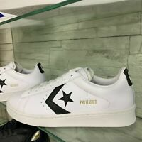 Converse All Star PRO LEATHER bassa Bianca in pelle logo Nero scritta oro