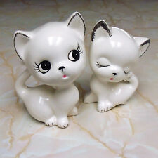 Pair Vintage Ceramic Cute Big Head Cat Figurines in White Unknown Maker
