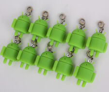 Lot of 10pcs Rubber Robot Google Android Key Chain Mini Doll Green