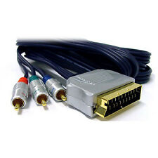 2M, High Quality Scart to Component Cable, YUV Scart to 3 x RGB Phono Plugs Lead