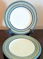 Tabletops Unlimited Hand Painted Coastal Stripes Dinner Plates x2 Blue Green
