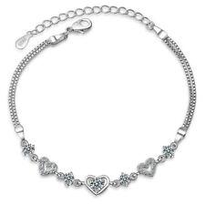 925 Sterling Silver Zircon Love Heart Chain Bracelet Romantic Xmas Birthday Gift