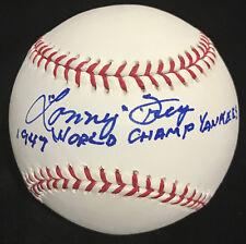 LONNY FREY 1947 WC YANKEES WORLD SERIES INSCRIPTION SIGNED BASEBALL BAS BECKETT