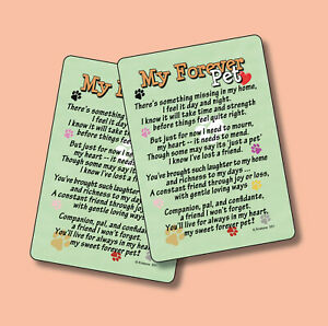 """My Forever Pet"" - Inspirational Poem - 2 Verse Cards - sku# 551"