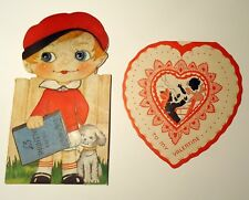Antique 2 Valentine cards 1930s fireman and a googly eye w/dog 4-page message