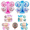 1st Birthday Baby Shower Party Decoration Foil Helium Balloon Set Pink Blue 5pcs