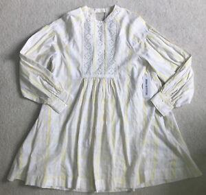 NWT Urban Outfitters Agatha Eyelet Babydoll Dress-Sz Medium-Cotton-Ivory/Yellow