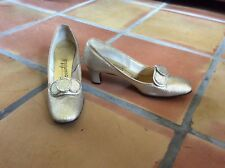 1960's Socialites Mod Gold Lame' Pumps Heels 6-6.5