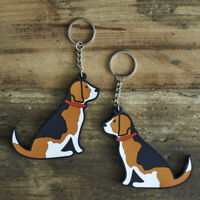 Cute BEAGLE Dog Keyring, Novelty Gift, PVC Key Ring, Bag Charm, FREE P&P