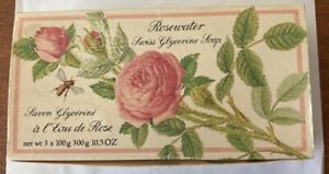 Crabtree & Evelyn Rosewater Swiss Glycerine Soap 3 Bars X 100g 10.5oz NOS 1984