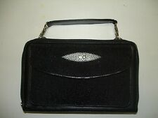 Genuine Stingray Leather Deluxe Organizer Purse, Black (02-257)
