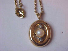 "Faux Pearl Necklace Crystal Pendant Gold Circle Signed P 7/8"" Cable Chain 18"""