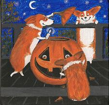 4x4 Halloween Print Of Painting Pembroke Welsh Corgi Ryta Folk Art Pumpkin Moon