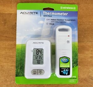 Acurite Wireless Indoor/Outdoor Thermometer With Clock, 02044W1, NEW