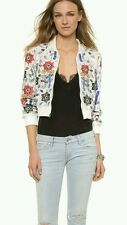 Alice + Olivia Beaded Embroidered Cropped Bomber Jacket Off White Size L NWOT