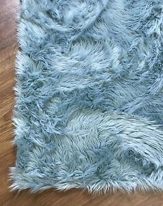Faux Sheepskin Shag Rug Teal Silky Carpet 3' x 5'