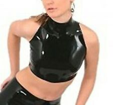 Latex Catsuit Female High Collar Sexy Bare Midriff No Zip Sleeveless Customized