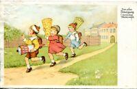 uralte AK, Zum ersten Schulgang herzlichen Glückwünsch, Kinder mit Zuckertüte