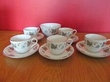 Beautiful Vintage Ridgway White Mist coffee set  5 cups & saucers,sugar bowl