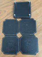 JIM BEAM Leather Coasters x 4 - Brand New