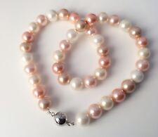 Rosa Collier Perlen Halskette mit 10mm rosa/weißen Perlenkette magnetisch Kugel